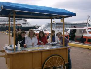 The students preparing for the onslaught of cruise ship visitors