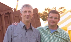Robert Brodie (left) and Josh Silver during Roberts recent visit to P.E.I.