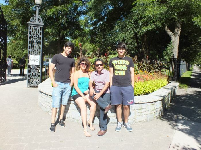 (L-R) Keyvan's son Mobin Ashenaei, his wife Farahnaz Rezaei, Keyvan, and his younger son Salman Ashenaei.