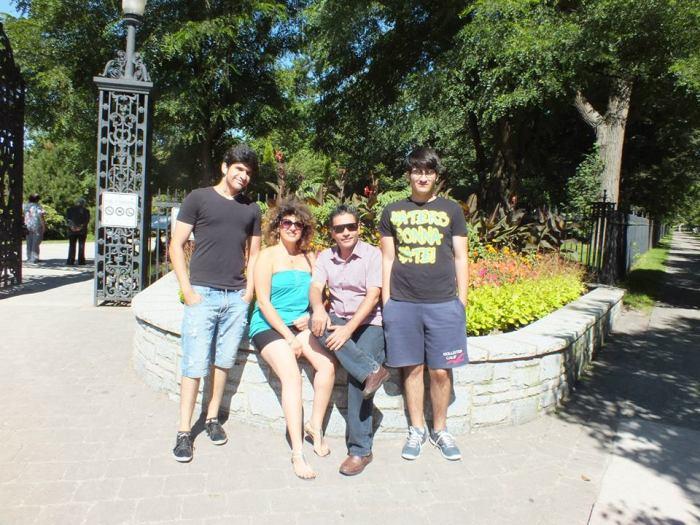 (L-R) Keyvan's son Mobin Ashenaei, his wife Farahnaz Rezaei, Keyvan, and his younger son Salman Ashenaei.