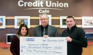 (L-R) Beth Harris, Breakfast Program Coordinator; Doug Bridges from PEI Credit Unions, and David Campbell, Student Union President.