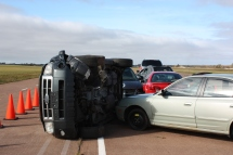 This represents a potential hazard, an unstable vehicle; but for the exercise, the vehicle was stabilized.
